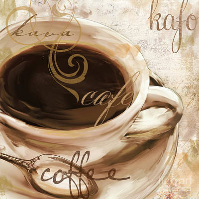 Cappuccino Painting - Le Cafe Light by Mindy Sommers