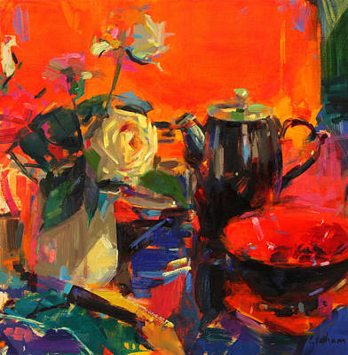 Teapot Painting - Le Cafe by Peter Graham