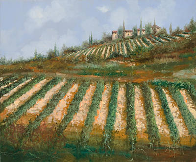 Harvest Painting - Le Case Nella Vigna by Guido Borelli