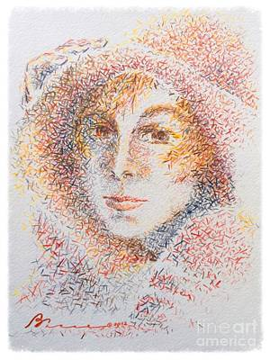 Straw Hat Drawing - Le Chapeaux  by Barbara Chase