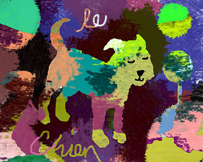 Dog Christmas Card Digital Art - Le Chien by Holly McGee
