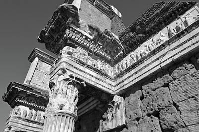 Photograph - Le Colonnacce Friezes At Foro Di Nerva Rome Italy Black And White by Shawn O'Brien