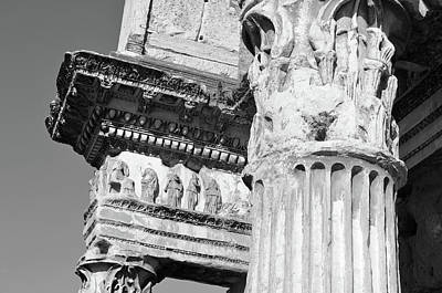 Photograph - Le Colonnacce Friezes At The Forum Of Minerva Rome Italy Black And White by Shawn O'Brien