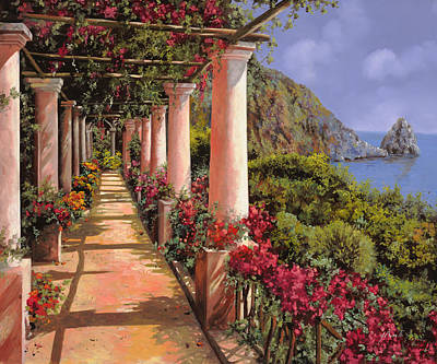 Red Flower Wall Art - Painting - Le Colonne E La Buganville by Guido Borelli