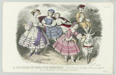 Demoiselles Painting - Le Conseiller Des Dames Et Des Demoiselles, Juillet 1861  Journal D Economie  Thierry, Paul Lacourie by Celestial Images
