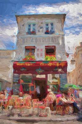 Sacre Coeur Digital Art - Le Consulat Cafe In Montmartre, Paris  by Elmira Tissenko