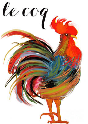 Birds Royalty-Free and Rights-Managed Images - Le Coq Art Nouveau Rooster by Mindy Sommers