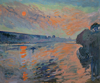Painting - Le Coucher Du Soleil La Meuse Maastricht by Nop Briex