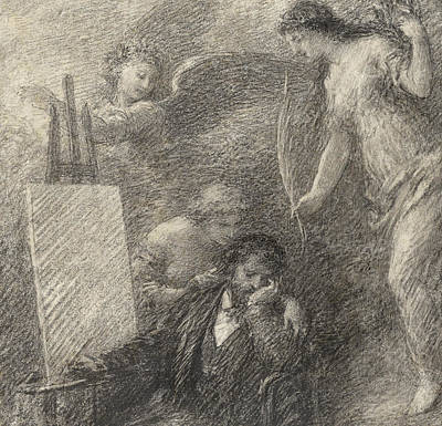 Pen And Pencil Drawings Drawing - Le Decouragement De L'artiste by Henri Fantin-Latour