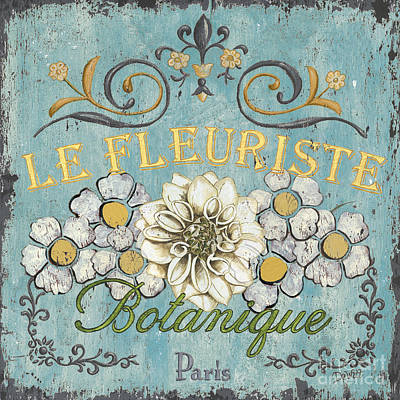 Blue Flowers Painting - Le Fleuriste De Botanique by Debbie DeWitt