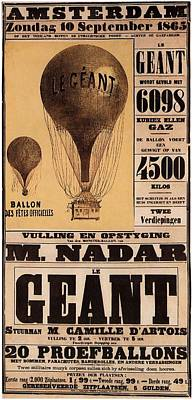 Mixed Media - Le Geant - Air Balloon - Amsterdam - Vintage Advertising Poster by Studio Grafiikka