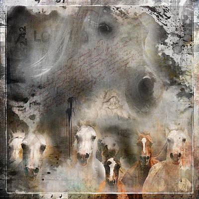Arabian Horses Mixed Media - Le Grand Voyage Est En Marche by ELA-EquusArt