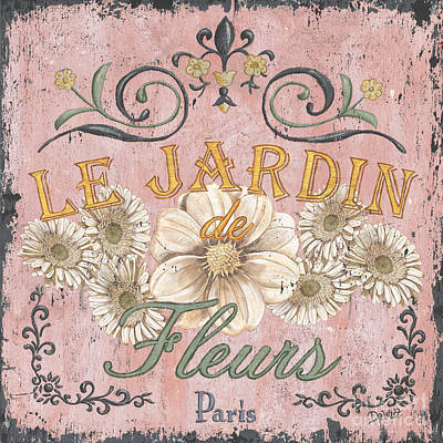 Signed . Nature Painting - Le Jardin 1 by Debbie DeWitt