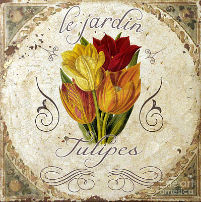 Red Tulip Painting - Le Jardin Tulipes by Mindy Sommers