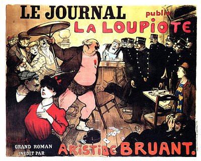 Mixed Media - Le Journal La Loupiote - Grand Roman Inedit Par Aristide Bruant - Vintage Art Nouveau Poster by Studio Grafiikka