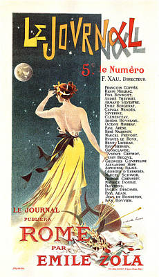Mixed Media - Le Journal, Rome - Emile Zola - Magazine Cover - Vintage Art Nouveau Poster by Studio Grafiikka