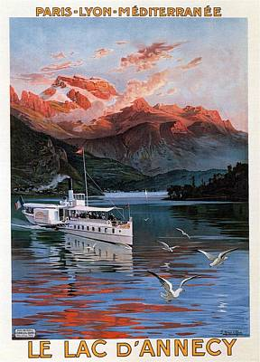 Royalty-Free and Rights-Managed Images - Le Lac Dannecy - Paris, Lyon, Mediterranee - Retro travel Poster - Vintage Poster by Studio Grafiikka