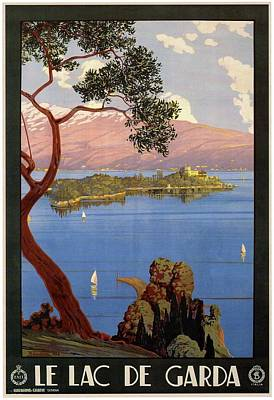 Mixed Media - Le Lac De Garda - Lake Garda - Italy - Retro Travel Poster - Vintage Poster by Studio Grafiikka
