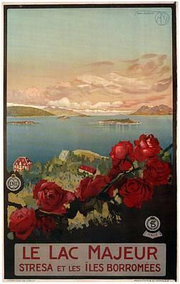 Mixed Media - Le Lac Majeur - Stresa Et Les Iles Borromees - Retro Travel Poster - Vintage Poster by Studio Grafiikka