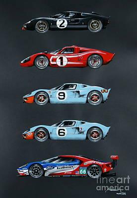 919 Painting - Le Mans Ford Saga by Alain Baudouin
