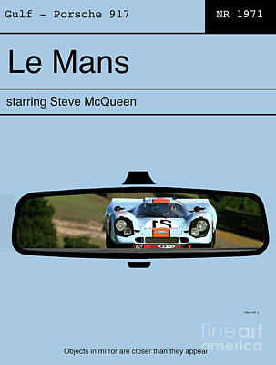 The View Mixed Media - Le Mans, Steve Mcqueen, Gulf Porsche 917, Minimalist Movie Poster by Thomas Pollart