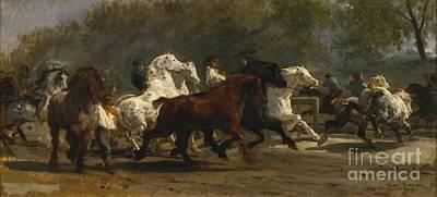 Race Horse Painting - Le March Aux Chevaux De Paris by MotionAge Designs