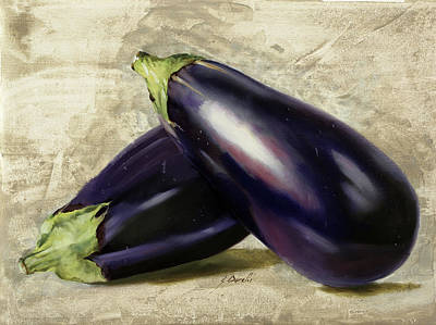 Eggplant Painting - Le Melanzane by Guido Borelli