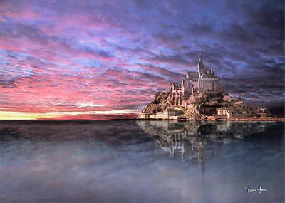 Watercolor Photograph - Le Mont Saint Michel At High Tide by Russ Harris