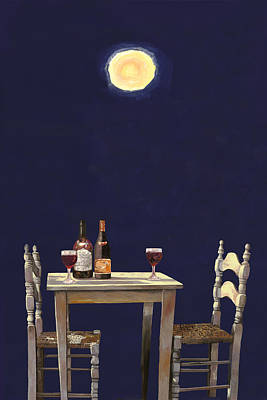 Wine-bottle Painting - Le Ombre Della Luna by Guido Borelli