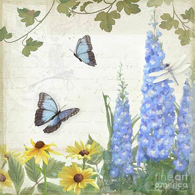 Le Petit Jardin 1 - Garden Floral W Butterflies, Dragonflies, Daisies And Delphinium Original by Audrey Jeanne Roberts