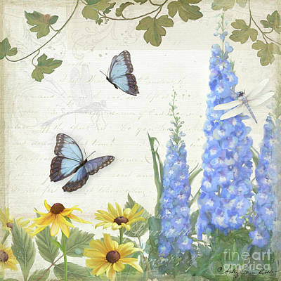 Painting - Le Petit Jardin 1 - Garden Floral W Butterflies, Dragonflies, Daisies And Delphinium by Audrey Jeanne Roberts