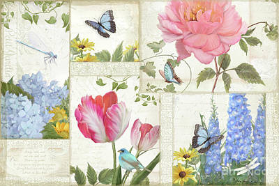 Painting - Le Petit Jardin - Collage Garden Floral W Butterflies, Dragonflies And Birds by Audrey Jeanne Roberts