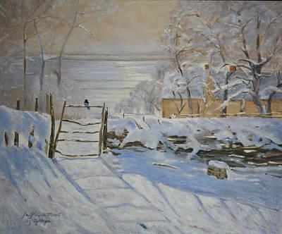Magpies. Snow Painting - Le Pie De Monet by Donna Hays