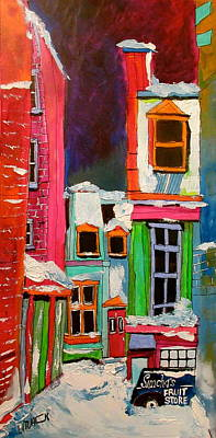 Montreal Back Lanes Painting - Le Plateau Back Lane by Michael Litvack