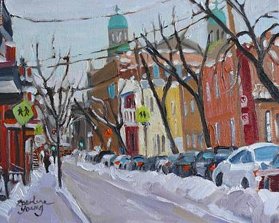 Art Print featuring the painting Le Plateau Scene Winter by Darlene Young