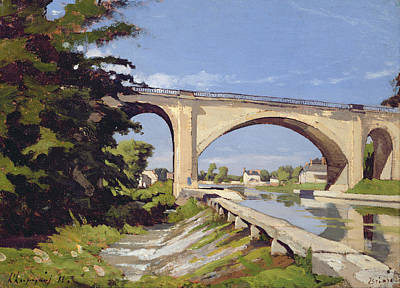 Reflecting Water Painting - Le Pont Canal A Briare by Henri Joseph Harpignies