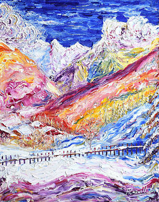 Painting - Le Praz Scene by Pete Caswell