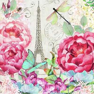 Paris Digital Art - Le Printemps A Paris, Springtime In Paris Floral Art by Tina Lavoie