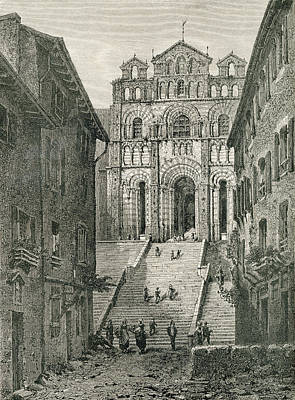 World Heritage Site Drawing - Le Puy Cathedral, Le Puy-en-velay by Vintage Design Pics
