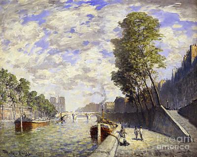 Boat Along The River Painting - Le Quai Des Grands-augustine, Paris by Frank Myers Boggs