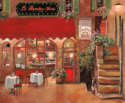 Cafes Painting - Le Rendez Vous by Guido Borelli