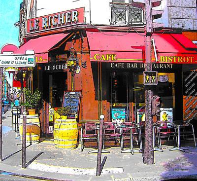 Le Richer Cafe Bar In Paris Art Print by Jan Matson