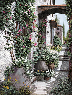 Le Rose Rampicanti Print by Guido Borelli