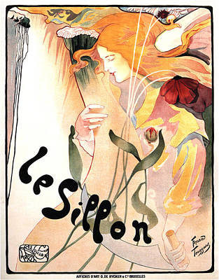 Mixed Media Royalty Free Images - Le Sillon - The Path - Vintage Art Nouveau Poster Royalty-Free Image by Studio Grafiikka