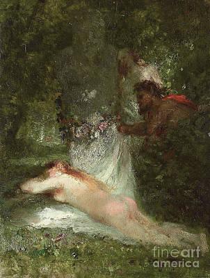Nymphe Painting - Le Sommeil De La Nymphe by Constant-Emile Troyon
