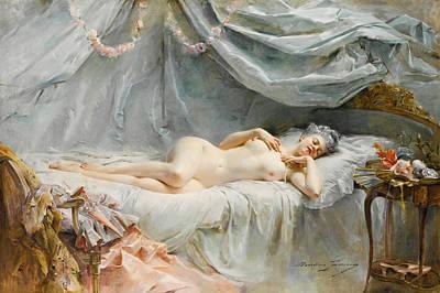 Le Sommeil Painting - Le Sommeil De Manon by Madeleine Lemaire