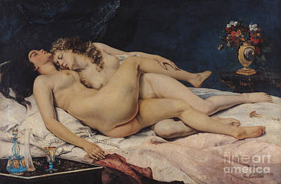 Bed Painting - Le Sommeil by Gustave Courbet