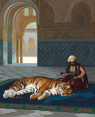 Jean-leon Gerome Painting - Le Tigre Et Le Gardien by Jean-Leon Gerome
