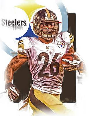 Steelers Mixed Media - Le Veon Bell Pittsburgh Steelers Oil Art by Joe Hamilton
