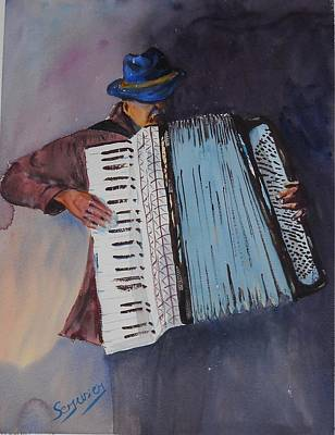 Le Vieil Accordeoniste  The Old Accordion Art Print by Dominique Serusier